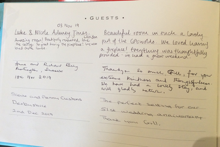 Guestbook Page 1 - Biddestone Holiday Cottage near Bath